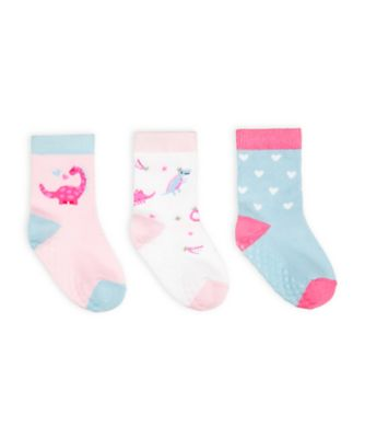 Mothercare Pink Dino Socks With Slip-Resist Soles - 3 Pack