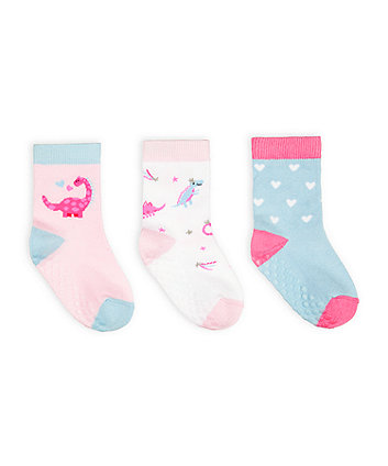 Mothercare Fashion Pink Dino Socks - 3 Pack