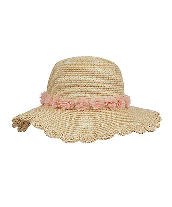 Mothercare Floral Corsage Floppy Straw Hat