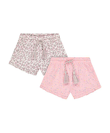 Mothercare Pink Leopard Print And Sprinkles Frilled Shorts - 2 Pack