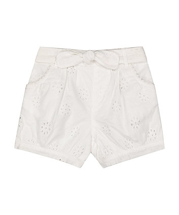 Mothercare Fashion White Broderie Shorts