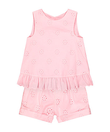 Mothercare Pink Broderie Blouse And Shorts Set