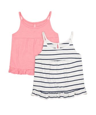 Mothercare Pink Horizons Stripe And Pink Vest - 2 Pack