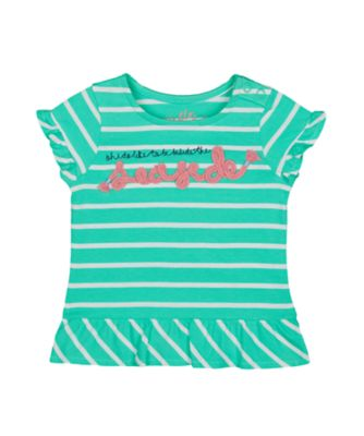 Mothercare Pink Horizons Green Striped Seaside Short Sleeve T-Shirt