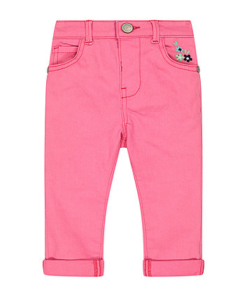 Mothercare Pink Embroidered Jeans