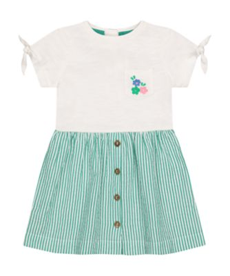 Mothercare Pnink Horizons Green Stripe Twofer Dress