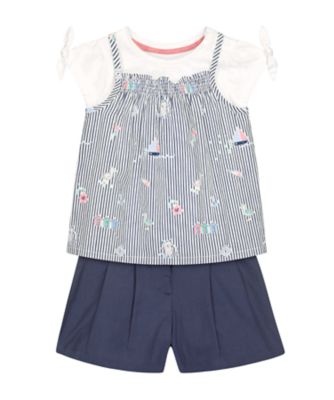 Mothercare Pink Horizons Stripe Strappy T-Shirt And Shorts Set