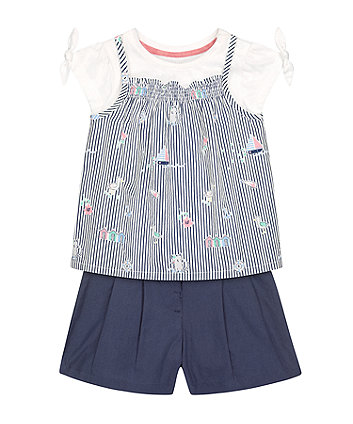 Mothercare Striped Top, T-Shirt And Shorts Set