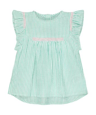 Mothercare Pink Horizons Green Stripe Seersucker Blouse