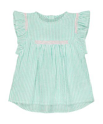 Mothercare Pink Horizons Green Stripe Seersucker Blouse
