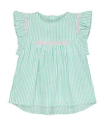Mothercare Green Stripe Seersucker Blouse