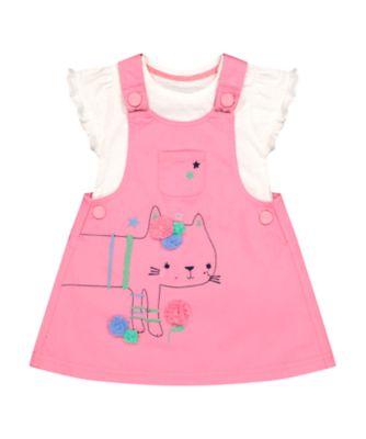 Mothercare Pink Horizons Cat Pinny Dress And T-Shirt Set
