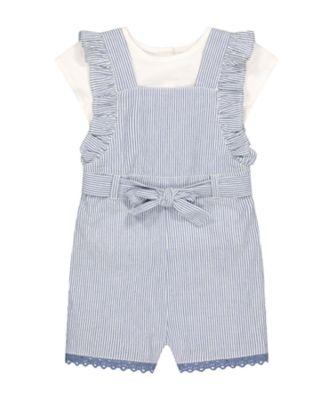 Mothercare Pink Horizons Stripe Bibshort And T-Shirt Set