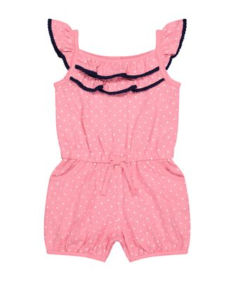 Mothercare Pink Horizons Spot Allover Print Playsuit