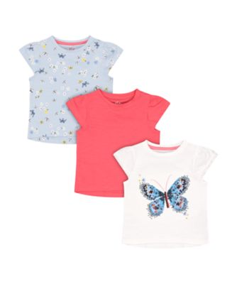 Mothercare Fairytale Butterfly And Floral T-Shirts - 3 Pack