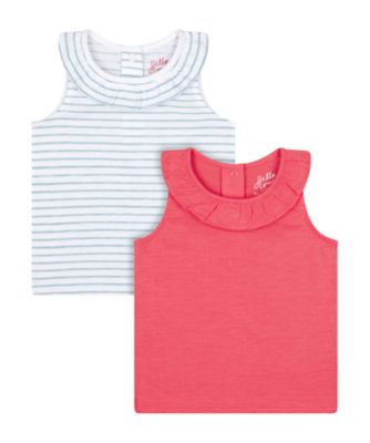Mothercare Fairytale Pink And Stripe Vest T-Shirts - 2 Pack