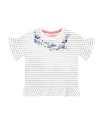 Mothercare Fairytale Striped Peplum-Hem Short Sleeve T-Shirt