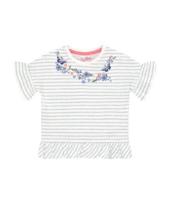 Mothercare Fairytale Striped Peplum-Hem Short Sleeve T-Shirt
