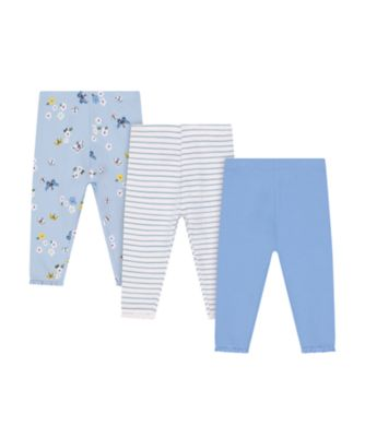Mothercare Fairytale Butterfly, Blue And Striped Leggings - 3 Pack