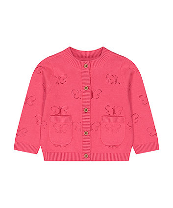 Mothercare Pink Butterfly Pointelle Cardigan