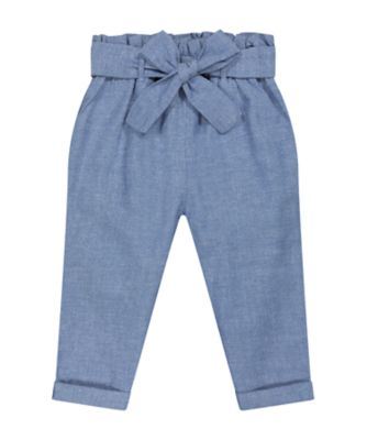 Mothercare Fairytale Blue Chambray Trousers With Belt