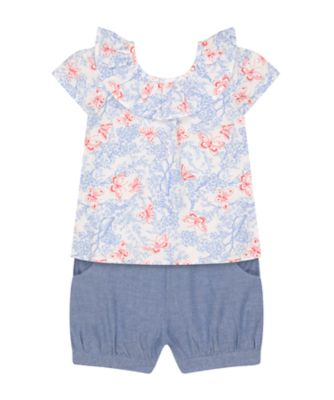 Mothercare Fairytale Butterfly Floral Blouse And Shorts Set