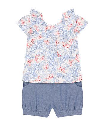 Mothercare Butterfly Blouse And Shorts Set