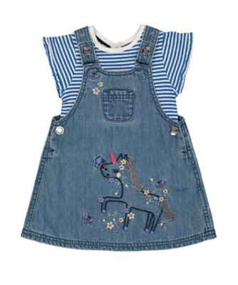 Mothercare Fairytale Party House Denim Pinny And T-Shirt Set