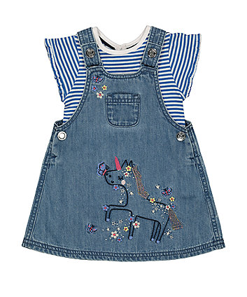 Mothercare Unicorn Pinny Dress And T-Shirt Set