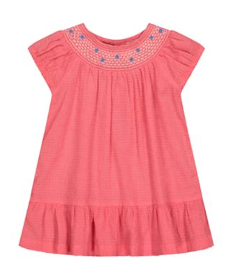 Mothercare Fairytale Pink Smock Short Sleeve Dress