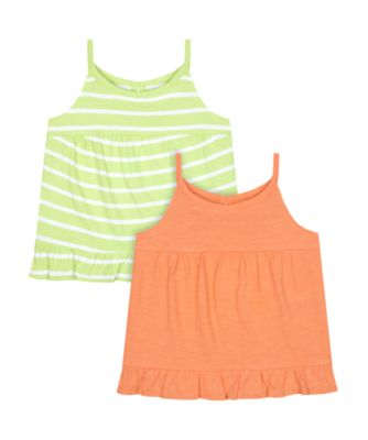 Mothercare Fresh Dress Stripe And Orange Vest - 2 Pack
