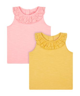 Mothercare Beachcomber Pink And Mustard Vest T-Shirts - 2 Pack