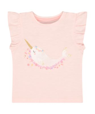 Mothercare Beachcomber Pink Narwhale Short Sleeve T-Shirt