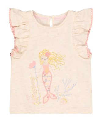 Mothercare Beachcomber Oatmarl Mermaid Short Sleeve T-Shirt