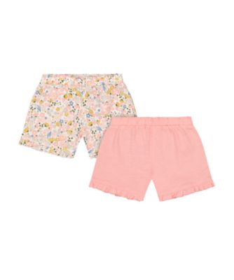 Mothercare Beachcomber Floral And Pink Frilled Shorts - 2 Pack