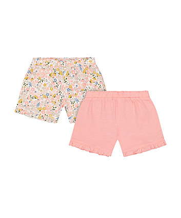 Mothercare Floral And Pink Frilled Shorts - 2 Pack