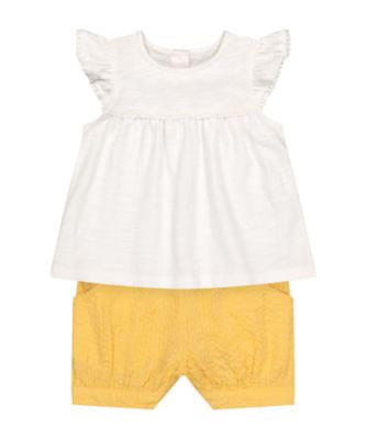 Mothercare Beachcomber White Lace Trim T-Shirt And Shirt Set