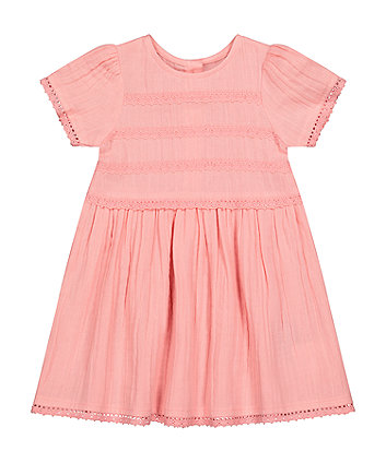 Mothercare Fashion Pink Lace-Trim Dress