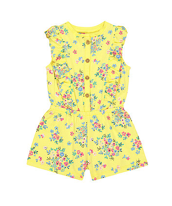 Mothercare Yellow Floral Playsuit