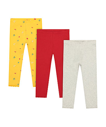 Mothercare Yellow Floral, Red And Grey Leggings - 3 Pack