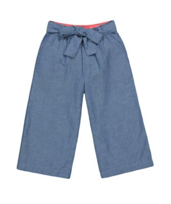 Mothercare Tropical Garden Party Blue Chambray Wide-Leg Trousers