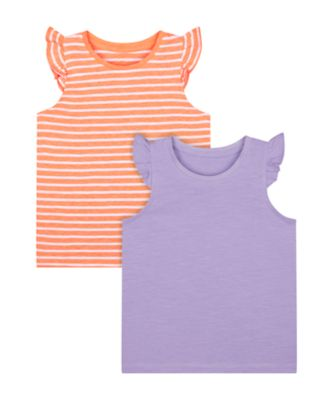Mothercare Beach Life Stripe And Purple Vest - 2 Pack