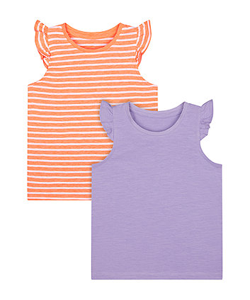 Mothercare Purple And Striped Vest T-Shirts - 2 Pack