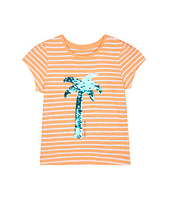 Mothercare Orange Stripe Reversible-Sequin T-Shirt