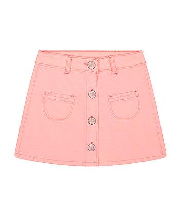 Mothercare Pink Denim Button-Up Skirt