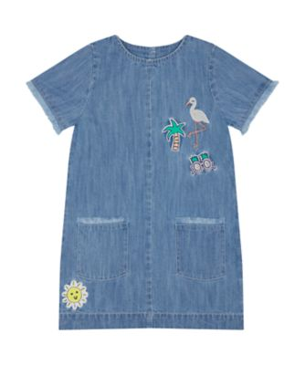 Mothercare Beach Life Mid Wash Denim Badge Dress