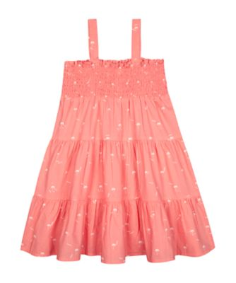 Mothercare Beach Life Coral Allover Print Strappy Tiered Dress