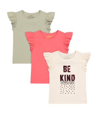 "Mothercare Arizona Escape ""Be Kind"" Sequin Short Sleeve T-Shirt - 3 Pack"