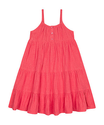 Mothercare Fashion Coral Stripe Tiered Dress