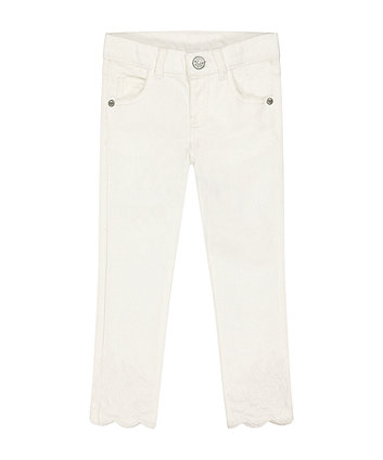 Mothercare Fashion White Embroidered Denim Trousers